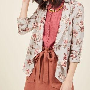 Jackets & Blazers - Modcloth Grey Floral Blazer